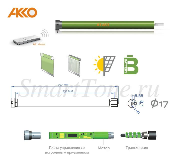 механизм рулонной шторы с электроприводом At16ce