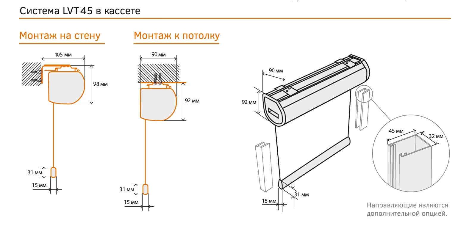 montazhnye razmery rulonnaya shtora Akko kasset LVT45