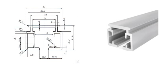 Профиль алюминиевый для электрокарниза 3м
