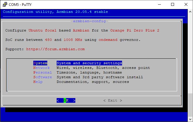 armbian-config main screen